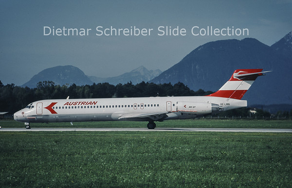 1992-08-28 OE-LMN MD87 AUstrian Airlines