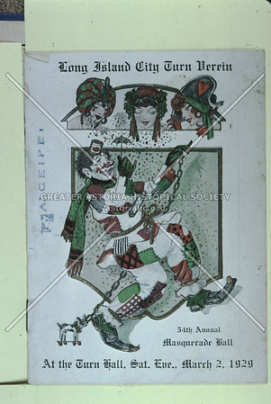 Long Island City Turn Verein (athletic club) 54th Masquerade Ball card.