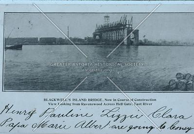 Queensboro Bridge under construction, East River (Hunters Point).
