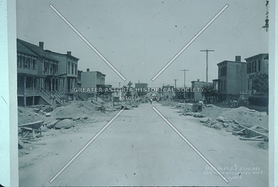 31 St north between Newtown Avenue and Astoria Blvd., elevated train construction, 1913