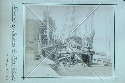 Dockside at Standard Oil Works, 1883, LIC.