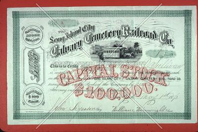Calvary Cemetery horsecar stock certificate