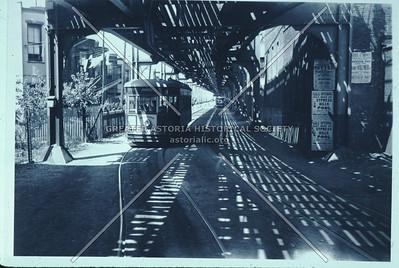 Trolleys on elevated train right of way, Ridgewood