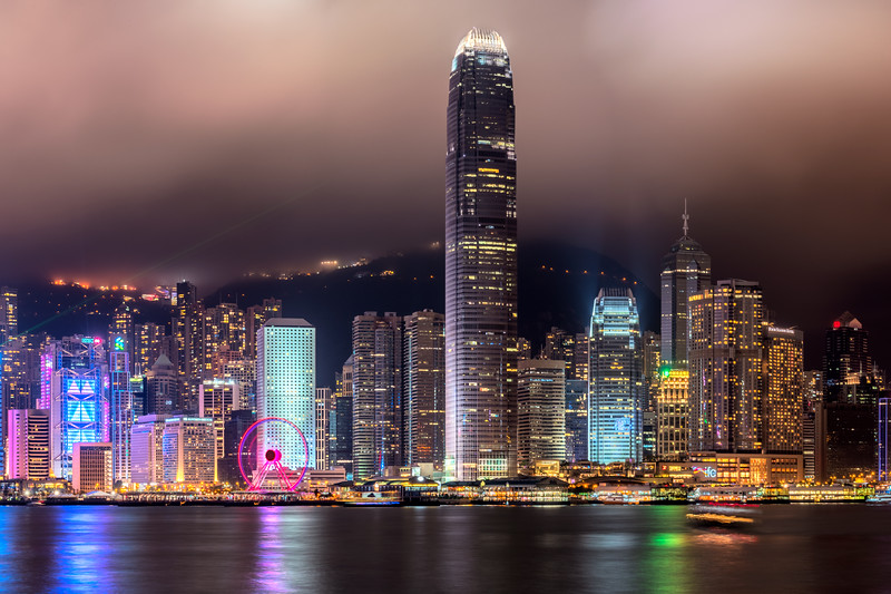 Hong Kong island with the International Finance Centre (2IFC) skyscraper