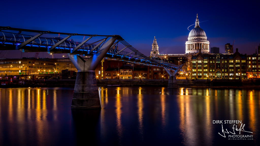 Millenium Bridge and St. Paul's Cathedral, London, UK