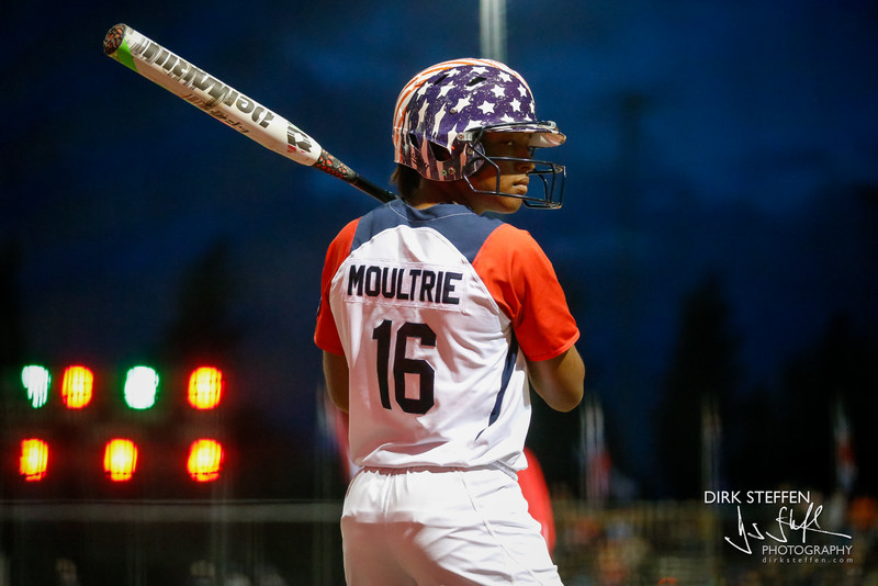 Michelle Moultrie preparing to hit