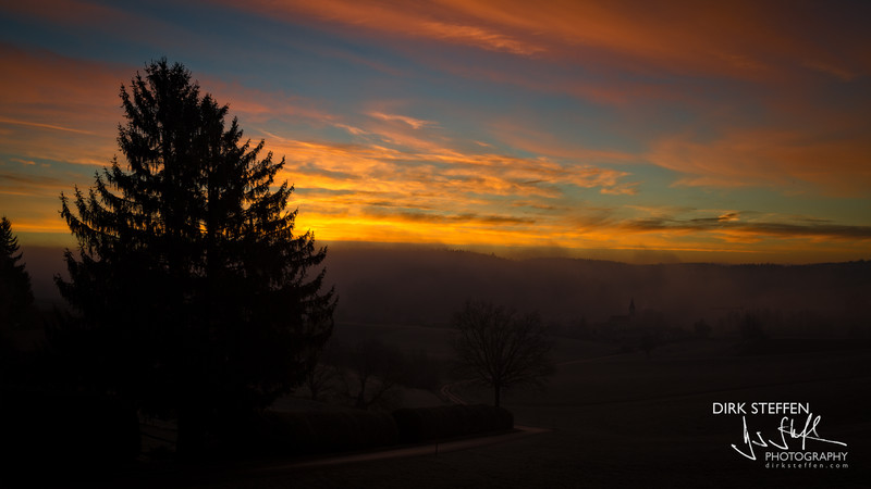 Bavarian sunrise near Wartenberg, Bavaria, Germany