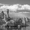 tufas at mono lake in b/w