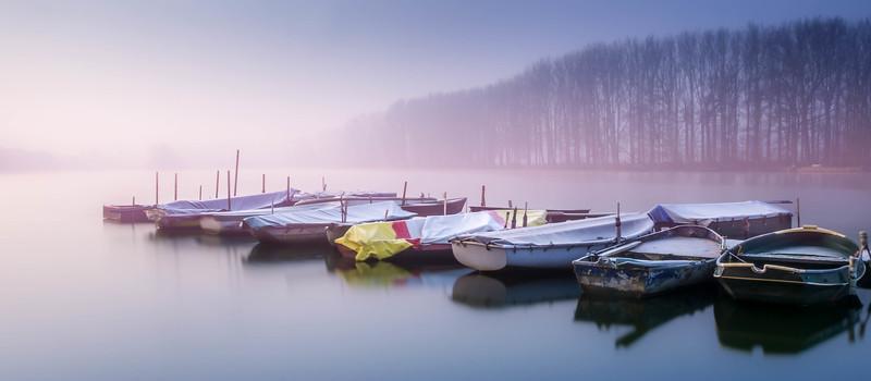 Blue, foggy lagoon pano