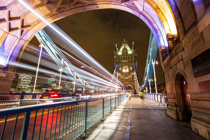 Bus Lights On Tower Bridge