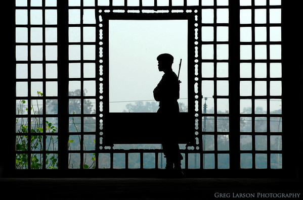 Soldier's silhouette at Red Fort, New Delhi, India