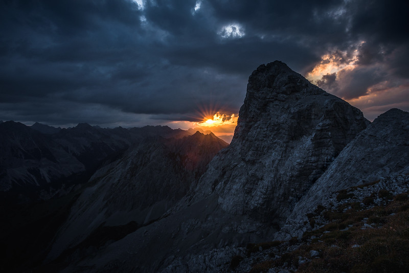 The Breakthrough, Sunrise through the clouds at Kleiner Solstein, Karwendel, Austria 2017
