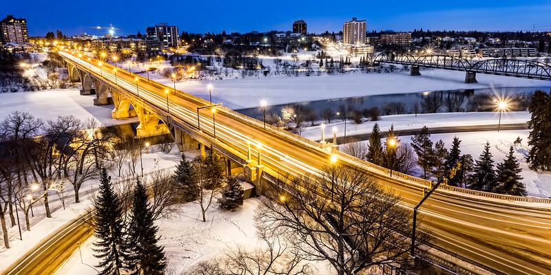 Bridge at Night in Winter