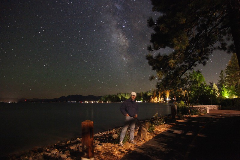 Long-exposure selfie with Jasmine, Tahoe City shore walk