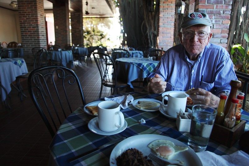 Dad at breakfast in Liberia,  Costa Rica