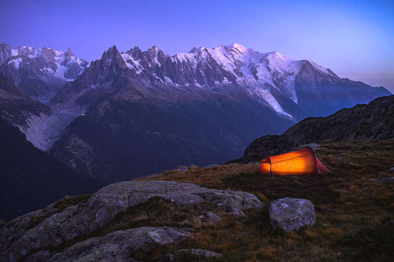 Finding a place for the night, Camping near Mount Blanc, France 2019