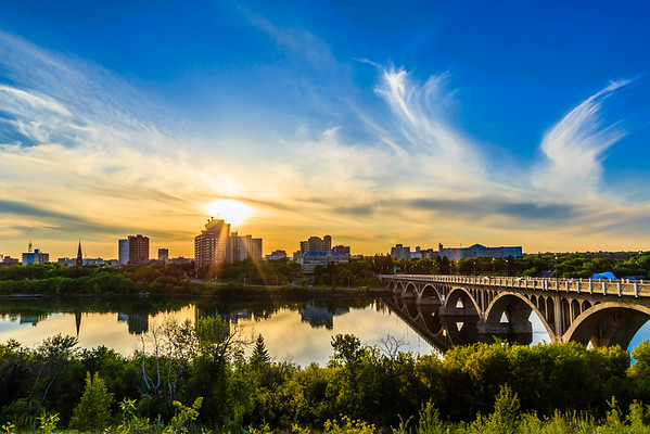 Sunset over the City of Saskatoon