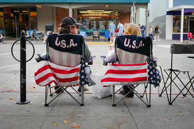 Waiting in USA chairs. Veterans Day Parade 2016, Petaluma, Ca.