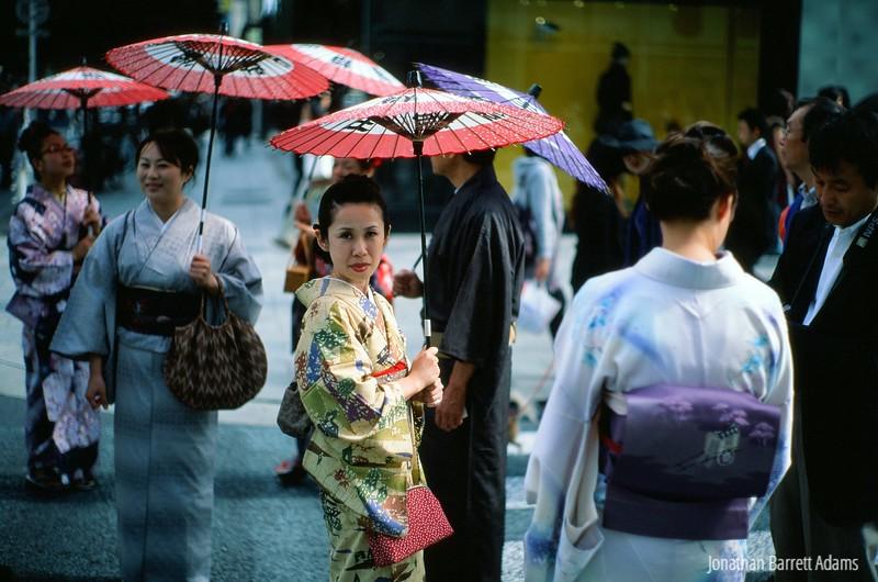 Women in Kimono with Parasols