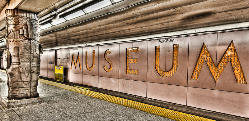 Opened in 1963, Museum station was named after the famous Royal Ontario Museum nearby (ROM). Seen here are pillars resembling Toltec warriors