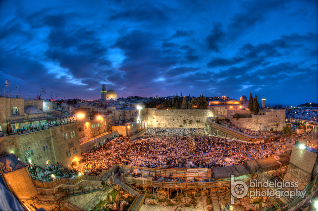 Sunrise over the Kotel on Shavuot 2012