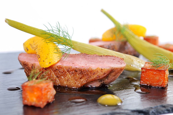 SWANSEA LIFE / Laura / Peter <br /> Thursday 30th April 2015<br /> Munch of Mumbles...<br /> main course - Roast duck breast with lavender honey, sweet potato, peach and fennel.