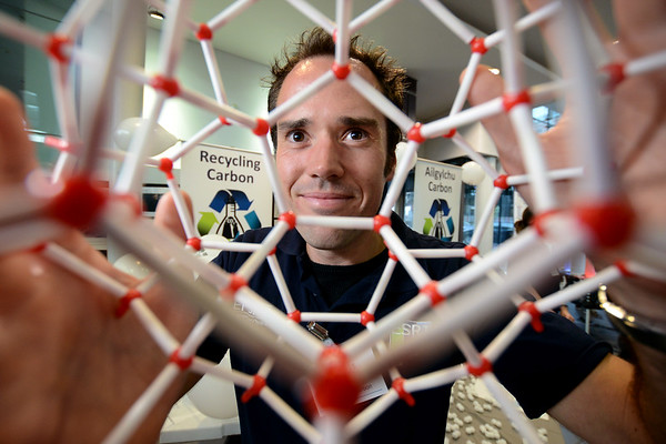 Swansea Science Festival 2017 at the National Waterfront Museum, Swansea...<br /> Chemist Russ Wakeham holding a Metal Organic Framework to a scale of 10 million.