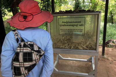 Case containing bone shreds that continue to wash up at Choeung Ek Killing Fields