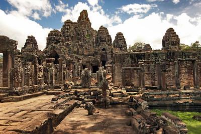 More than 200 Buddha heads on Bayon ruin towers