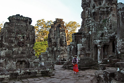 Four-sided Buddha heads on towers of Bayon temple