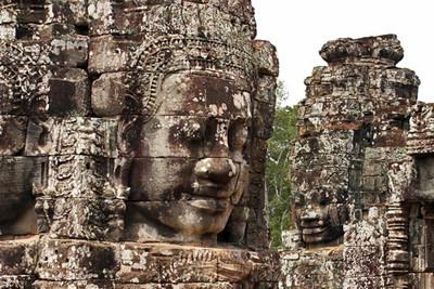 Close-up of Buddha heads of Bayon temple