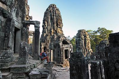 Sunrise inside the Bayon ruins at Angkor Thom
