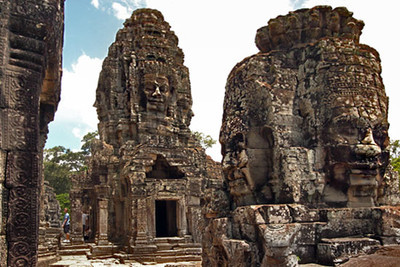 Enigmatic carved heads at Bayon temple, Angkor Thom