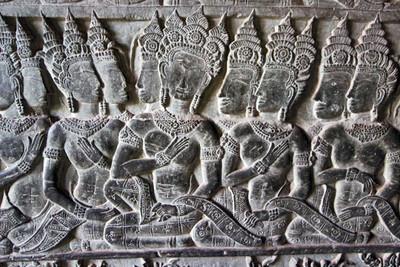 Ancient carvings at Angkor Wat