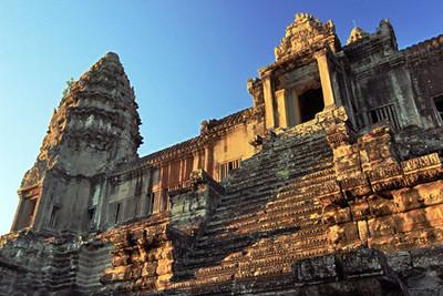Steep stairs lead to upper galleries at Angkor Wat