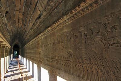 Gallery of carvings at Angkor Wat depicts Ramayana