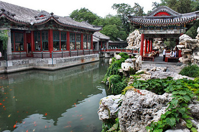 Fish pond surrounds temples and pagodas in BeiHai Park