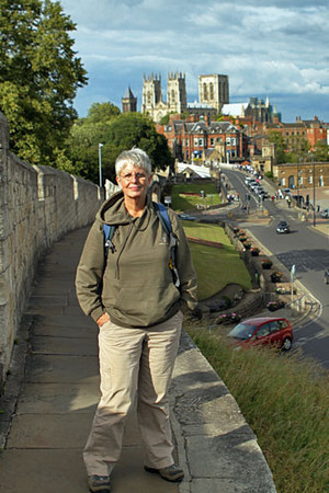 Walking the old city walls with York Minster in background