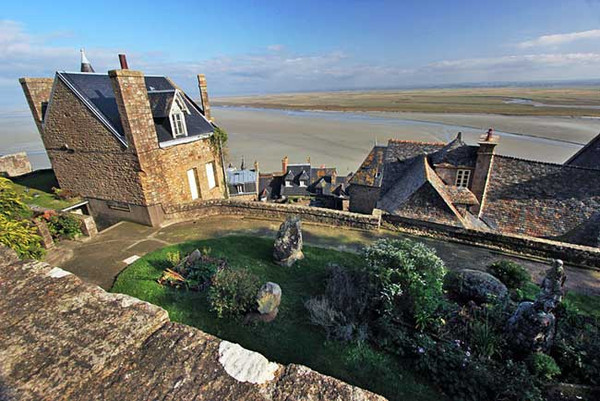 Medieval homes and gardens on Mont Saint Michel