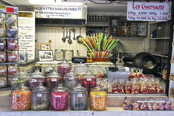 Candy store in the old walled city of Saint Malo, France