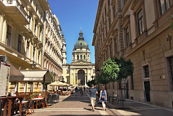 St. Steven's Basilica anchors the end of a pretty street on the Pest side of Budapest