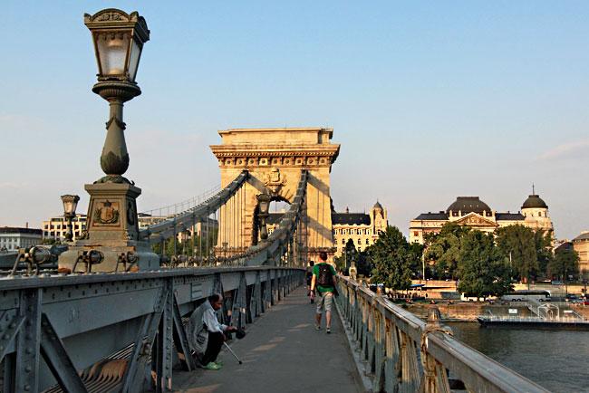 Historic Chain Bridge over the Danube in Budapest, Hungary
