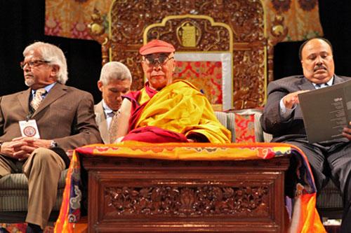 Opening Ceremonies eft to right:  Arun Ghandi (Grandson olf Mahatma Ghandi), Dalai Lama's translator Geshe Thgupten Jinpa, Dalai Lama, Martin Luther King III