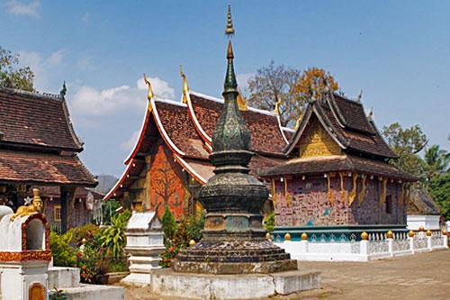 Mosaics on temple buildings at Wat Xieng Thong