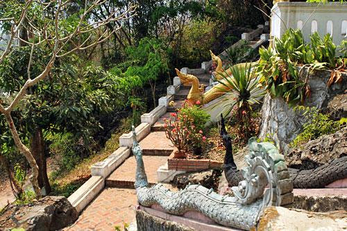 Path from Phousi Mount leads through Wat Thammo Thayaram