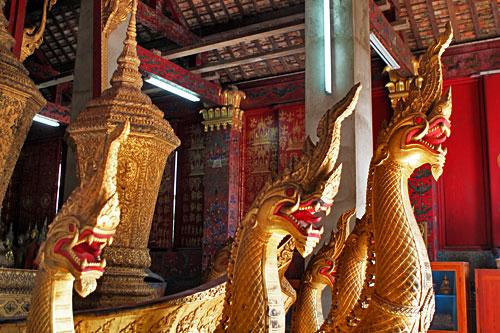 Seven-headed naga funeral chariot at Wat Xieng Thong