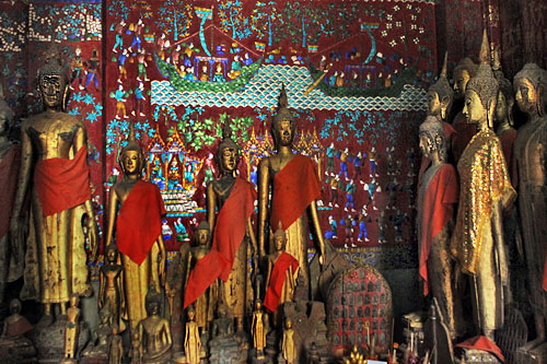 Sculptures in carriage house in Wat Xieng Thong
