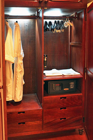 Wardrobes with plush robes & safe