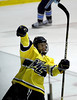 MARY SCHWALM/Staff photo.   Merrimack's Ryan Flanigan celebrates after scoring a goal against Maine during their hockey game at Merrimack College in North Andover.  3/12/11