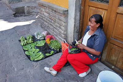 Nopal (cactus) vendor at Hidalgo Market